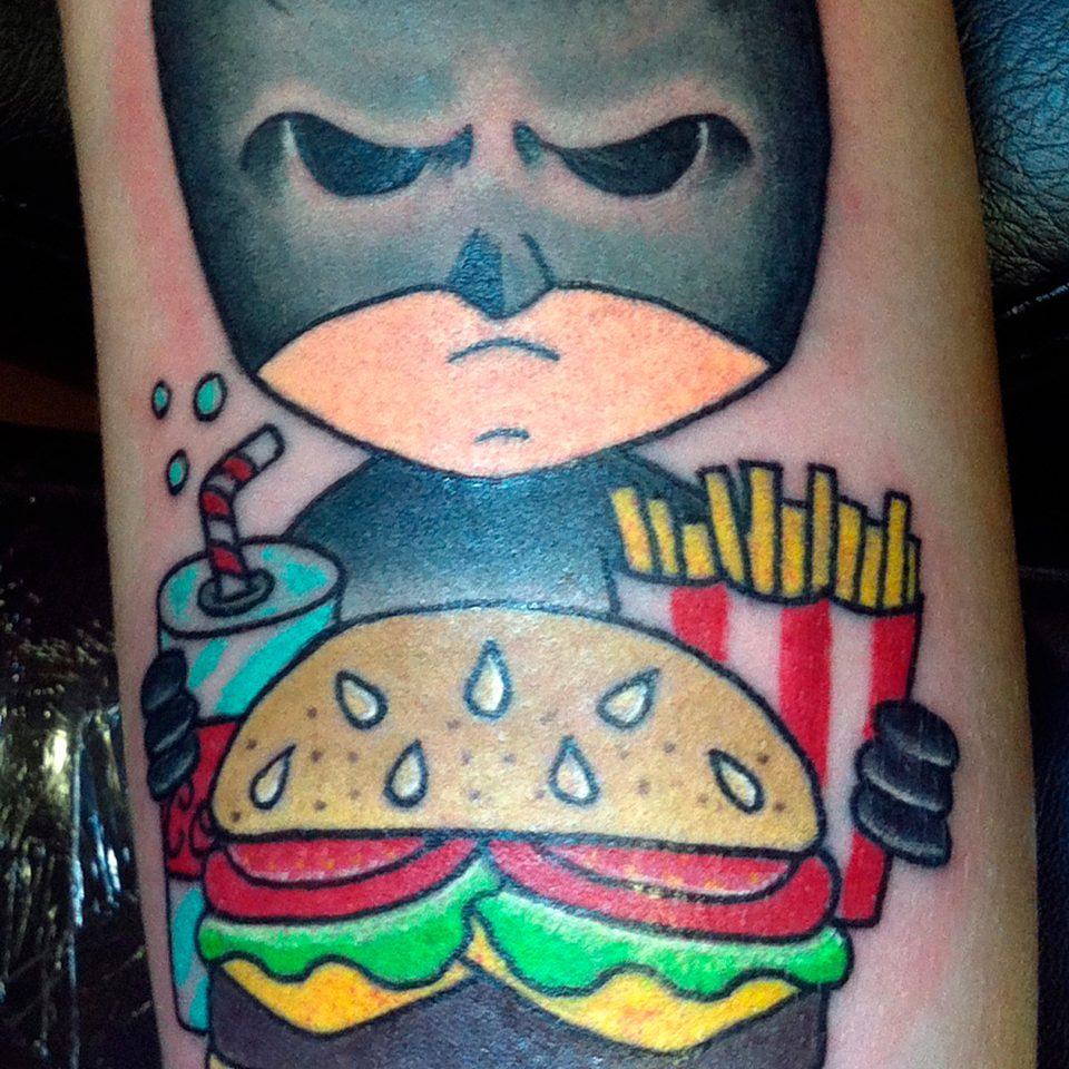 Tattoo de Batman Burguer a color