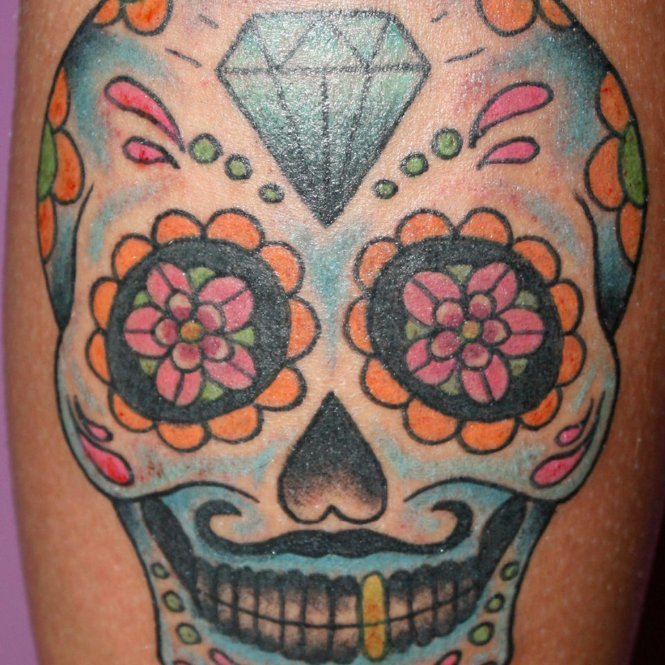 Tattoo calavera mexicana a color