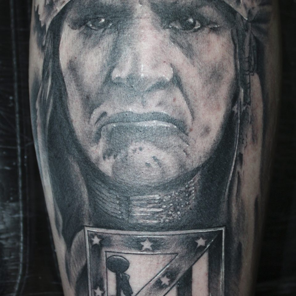 Tattoo indio realismo atletico de Madrid