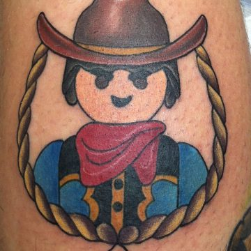 Tattoo playmobil tradicional wester a color